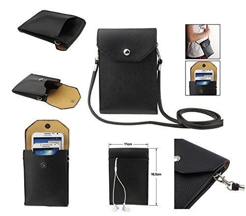 "DFV mobile - Universal litchi texture leather case pocket sleeve bag with lanyard for tablet and smartphone for =>     APPLE iPhone 6s Plus [5,5""] > color BLACK"