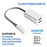 iPhone Splitter for 7 / 8 / 10 / X and Plus Splitter Adapter Cable, by Tip-Top Home Goods - 2 in 1 Dual Lightning Headphone Jack Audio & Charger Adapter
