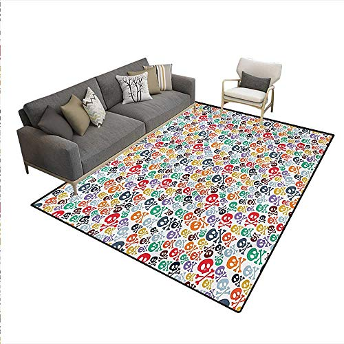Rug,Halloween Themed Colorful Skulls Crossbones Funny Cartoon Style Pattern Print,Area Carpet,Multicolor,6'6