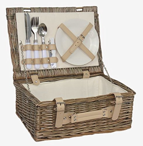 Red Hamper Cesta de picnic, 2 personas, equipada, color marrón, 26 x 36 x 15 cm FH055