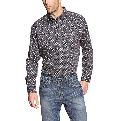 Ariat Men's Flame Resistant Long Sleeve Button Down Work Shirt, Tyler Quiet Shade, Medium