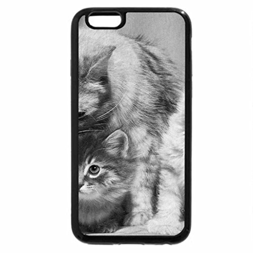 iPhone 6S Case, iPhone 6 Case (Black & White) - A mother cat and her kittens