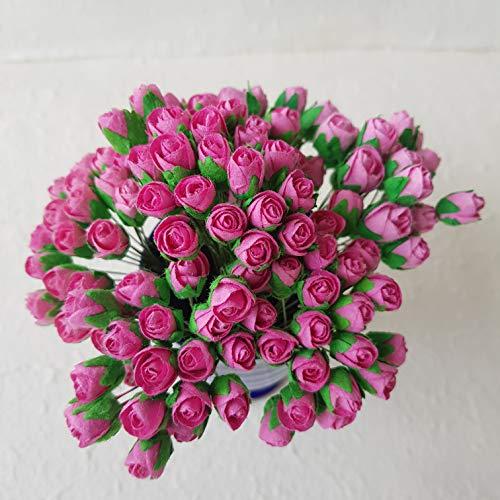 DOWDEGDEE 100 pcs Handmade Mulberry Paper Rosebud Flower 1 cm Craft Scrapbooking Scrapbook Bow Wedding Doll House Supplies Card Pink.