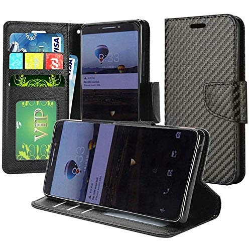 Alcatel 7 Folio (Metro PCS) Phone Case Accessory Charming Black Textured Designer Flip Magnetic Wallet Cover Card Holder with Free Aplus Gift ()