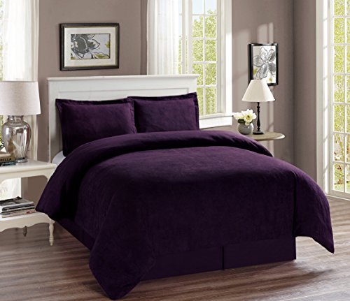 Solid Purple Suede Bedding