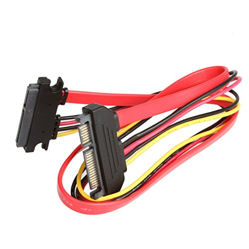 LINESO SATA (7+15) 22Pin Male to Female 20Inches (50CM) Data and Power Combo Extension Cable