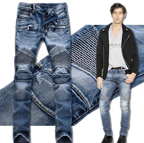 Fit Tendenza Jeans Chino Da Blau Blue Zipper Slim Look Moto In Piegati E Black Uomo Biker Pantaloni Nuova Denim Skinny Regular Cargo 9 T7Sqw7n