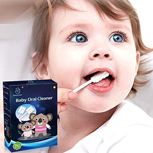 Baby Toothbrush, Baby TongueCleaner, Infant Toothbrush Disposable for Tongue, Mouth, Teeth, Gums, Cleaning Gauze Toothbrush, Baby Oral Cleaning Stick 36Pcs