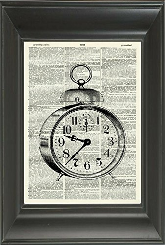 Vintage Clock Art Print - Vintage Art Print - Vintage Dictionary Art Print - Black & White - Book Art Print - WALL ART - Illustration - Picture - Wall Hanging - Home Décor - ARTWORK 731D 4