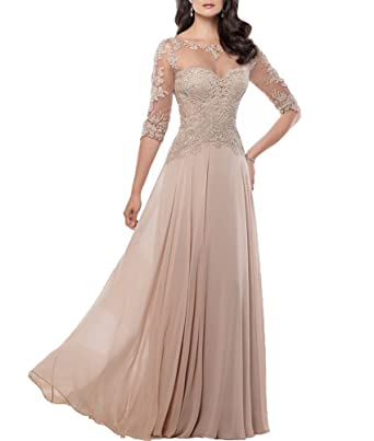 Sweet Bridal Womens 3/4 Sleeve Applique Chiffon Long Evening Dress Champane US2