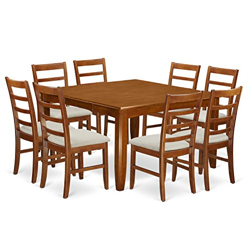 East West Furniture PARF9-SBR-C 9-Piece Formal Dining Table Set