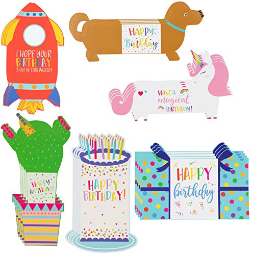 Sustainable Greetings 24-Pack Kids Tri-Fold Specialty Birthday Cards, 6 Unique Designs with Blue A7 Envelopes, 5 x 7 Inches