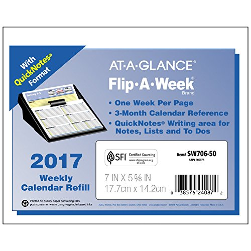 At A Glance Flip A Week Weekly Refill 2017 Quick Notes
