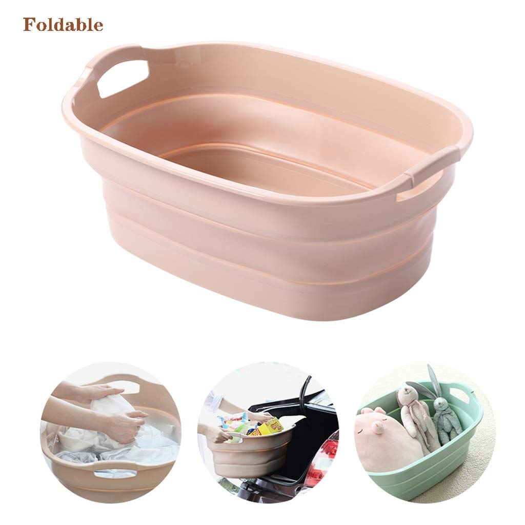 QBYLYG Collapsible Plastic Laundry Basket - Foldable Pop Up Storage Container/Organizer - Portable Washing Tub - Space Saving Hamper/Basket (Color : Pink) by QBYLYG