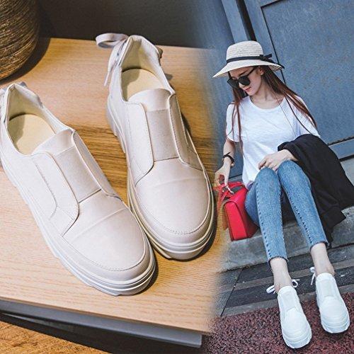 ANI Estación Europea Primavera Zapatos Occidentales Zapatos Blancos de Encaje con un Fondo Grueso con un Solo Zapatos Redondos Mujeres Blanco