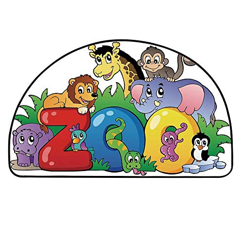 YOLIYANA Zoo Semicircle Rug,Zoo Sign with Various Animals Mascot Cartoon Characters Cute Playful Kids Room Print Decorative Floor Mat,29.5