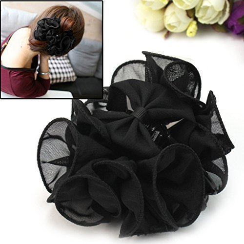 Korean Chiffon Rose Bow Hair Claw Clip Gorgeous Hair Accessory, Black ()
