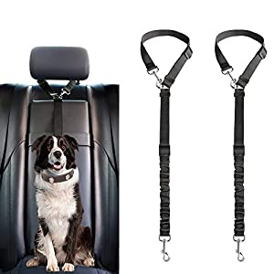 Mkono Dog Seat Belt, 2 Pack Adjustable Durable Headrest Seatbelt Pet Dog Car Safety Harness Restraint with Elastic Nylon Bungee Buffer Vehicles Travel Daily Use, Black 44