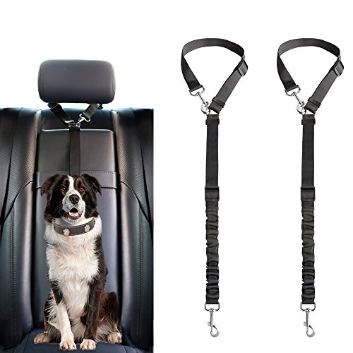 Mkono Dog Seat Belt, 2 Pack Adjustable Durable Headrest Seatbelt Pet Dog Car Safety Harness Restraint with Elastic Nylon Bungee Buffer Vehicles Travel Daily Use, Black