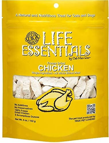All-Natural Freeze Dried Chicken Treats for Dogs Cats Free of Grains, Fillers, Additives and Preservatives Proudly Made in the USA – 6 Pack 5 oz. Bag