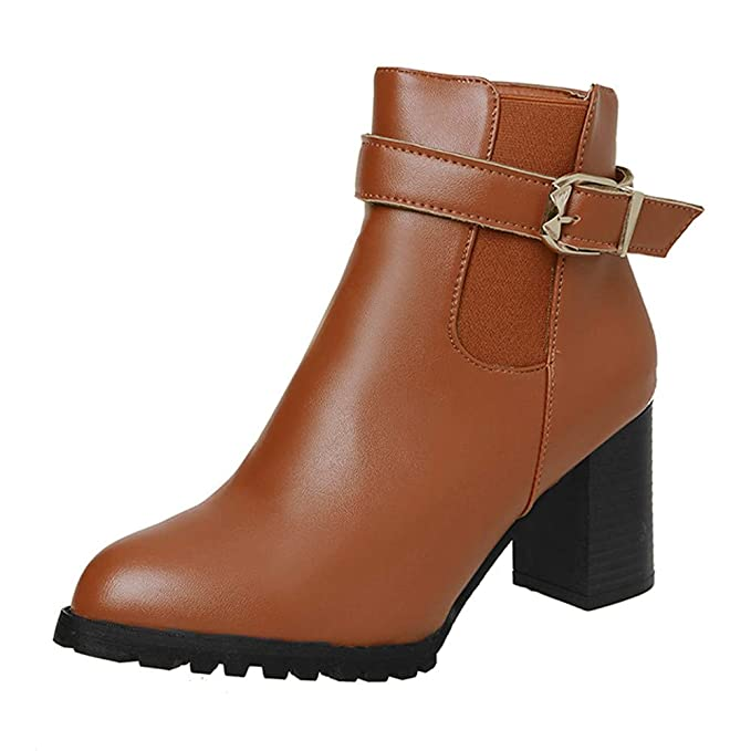 Amazon.com: Women Winter Ankle Boots Side Zipper Casual Vintage High Heel Martin Boots: Electronics