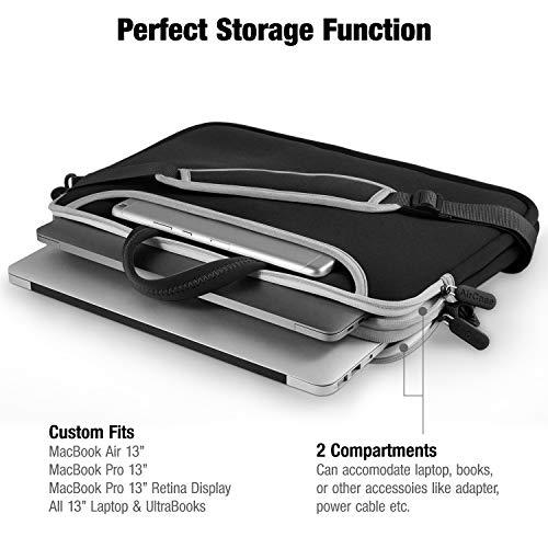 AirCase Laptop Bag Sleeve Messenger Bag for 13-Inch/ 14-Inch Laptop MacBook | 4-Multi Pocket (Black-Grey)