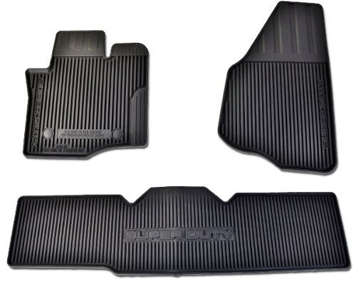 Oem Factory Stock 12 13 14 2012 2013 2014 Super Duty F-250 F-350 F-450 F-550 Super Cab Weather Floor Rubber Mats Black Ebony Set by Ford (Image #1)