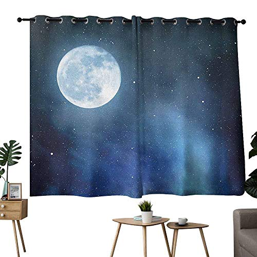 Mannwarehouse Moon Kids Room Curtains Night Sky with Stars Full Moon Universe Space Heavenly Bodies Romantic Evening 70%-80% Light Shading, 2 Panels,55