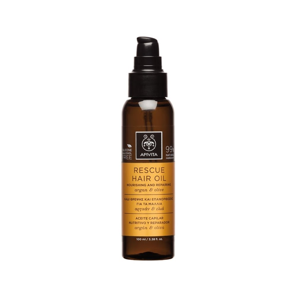 4 X Apivita Rescue Nourishing and Repairing Hair Oil with Argan Oil & Olive (New Product, Released in 2017) - 4 Bottles X 100ml/3.4oz each one