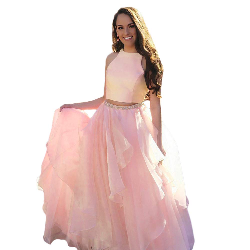 Peach Liyuke Two Piece Prom Homecoming Dress Long Beaded Evening Gowns for Juniors
