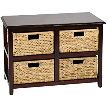 Office Star Seabrook 2 Tier, 4 Drawer Storage Unit With Natural Baskets,