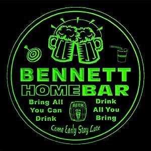 4x ccq03230-g BENNETT Family Name Home Bar Pub Beer Club Gift 3D Engraved Coasters