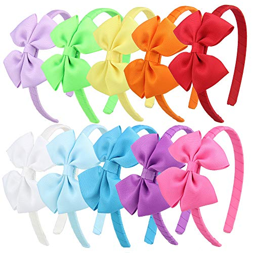 7Rainbows 10Pcs Girls Boutique Grosgrain Ribbon Bows Headbands