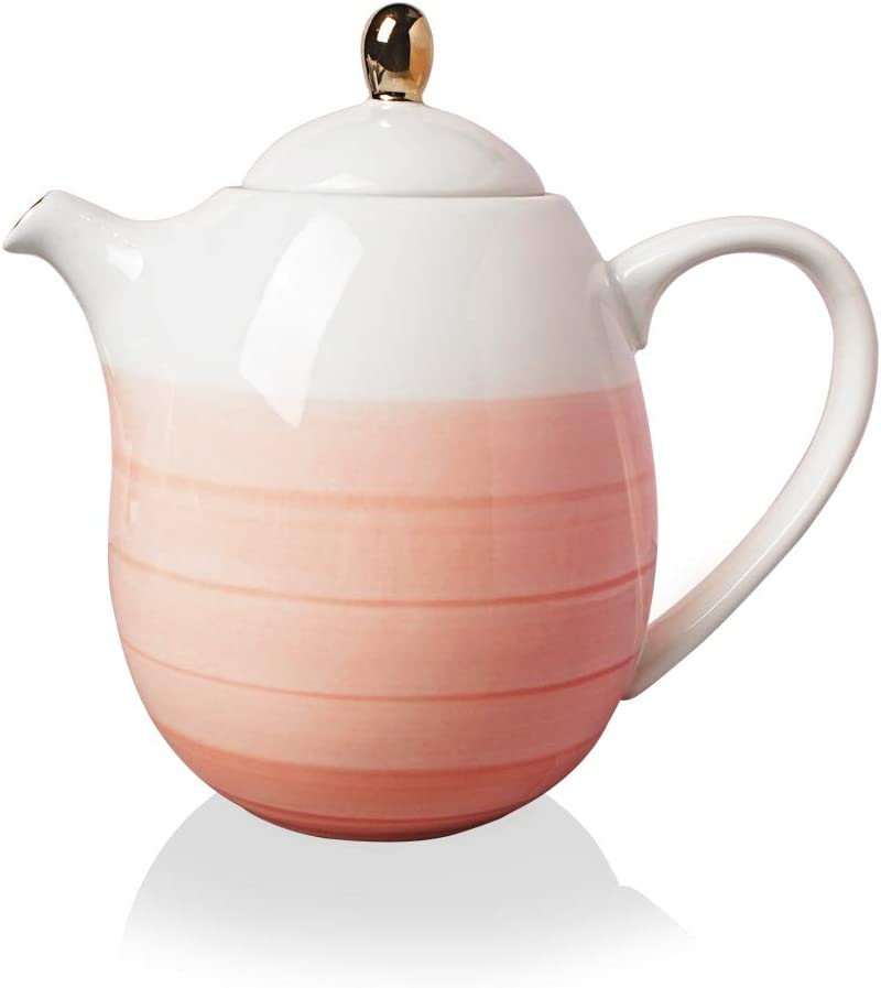 SWEEJAR Ceramic Teapot, Porcelain Tea Pot with Removable Stainless Steel Infuser, Blooming and Loose Leaf Teapot - 38 Ounce (Pink)