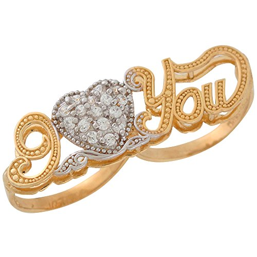10k Two-Tone Gold White CZ Studded Ladies Fine I Love You Double Two Finger Ring by Jewelry Liquidation