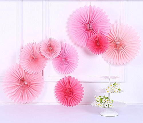 Sorive Pack of 8 Hanging Party Wedding Decorations Pink Paper Fans and Tassel Garland Set