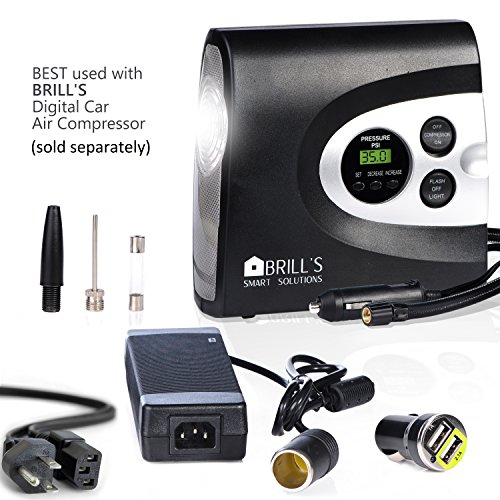 BRILL'S 12V DC Portable Tire Inflator Pump, 150 Psi Electric Air Compressor for Cars, Bikes, Motorcycles and Balls. Carry Case and USB Car Charge Included by BRILL'S SMART SOLUTIONS (Image #8)