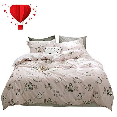 BuLuTu Animal Kids Duvet Cover Queen Pink for Girls 100% Cotton,Premium Reversible 3 Pieces Toddler Bedding Sets Full Zipper Closure,Raccoon Rabbit Bear Print,No Comforter