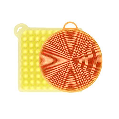 Silicone Sponge Food-Grade Antibacterial Multipurpose Kitchen Scrub Brush for Wash Fruit and Vegetable Kitchen Wash Pot Pan Dish Bowl Sink Aquarium Car Pack of 2 (Yellow+Orange)