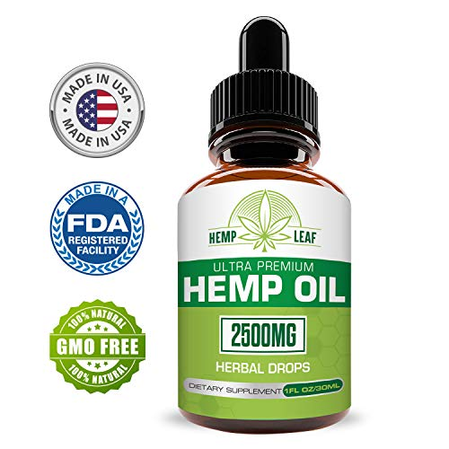 Hemp Oil 2500 for Pain Relief - Hemp Oil for Stress Support - Anti Anxiety, Sleep Supplements - Herbal Drops - Rich in MCT Fatty