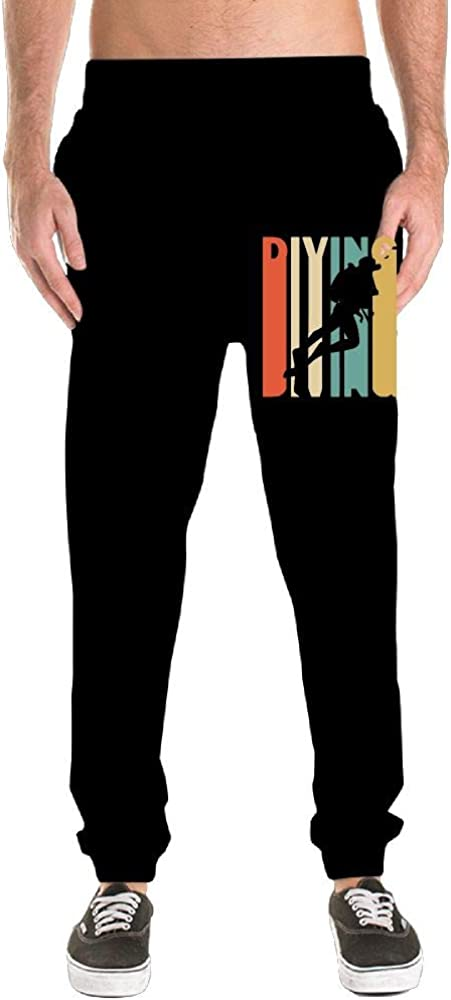 Mens Relaxed Sweatpants 100/% Cotton Retro Style Diving Silhouette Running Pants
