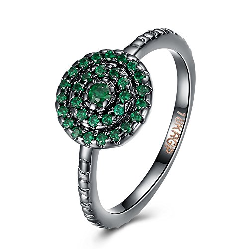 Prong Shared (LuckyWeng Women's Round Cut 6 Prong CZ Green Pave Shared Prong Bezel Stamped Hammered Black Bands Engagement Rings)