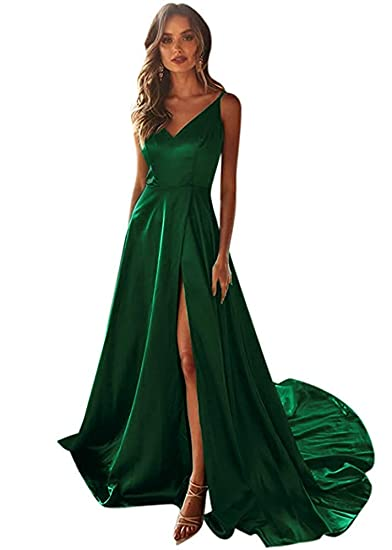 Lanierwedding Womens V Neck Side Slit Black Prom Dresses With
