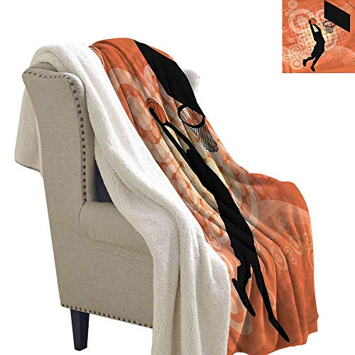 Beihai1Sun Basketball Light Thermal Blanket Basketball Dunk Athlete Super Soft Blanket for Coach, Sofa,Bed 60x32 Inch