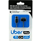 Uber 13156 USB Apple 30 Pin Sync Charge Cable, Coiled 4-Feet, Black