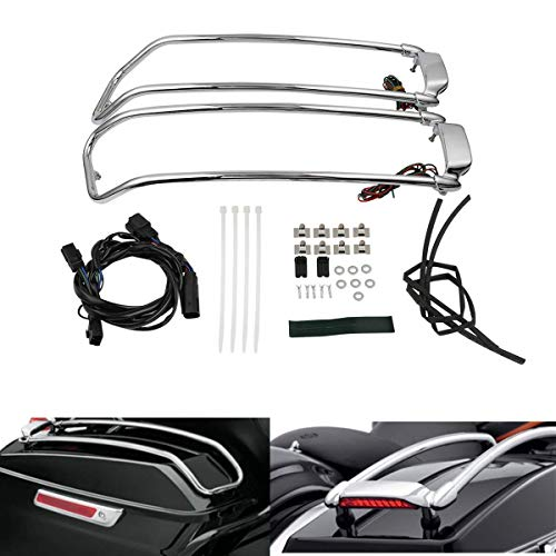 TCT-MT Saddlebag Support Guard Lid Top Rail LED Brake Light For Harley Touring Electra Street Road King Glide 2014-2018 FLTRX Ultra FLTRU Classic FLHTCU Special FLHRXS 17 16 15