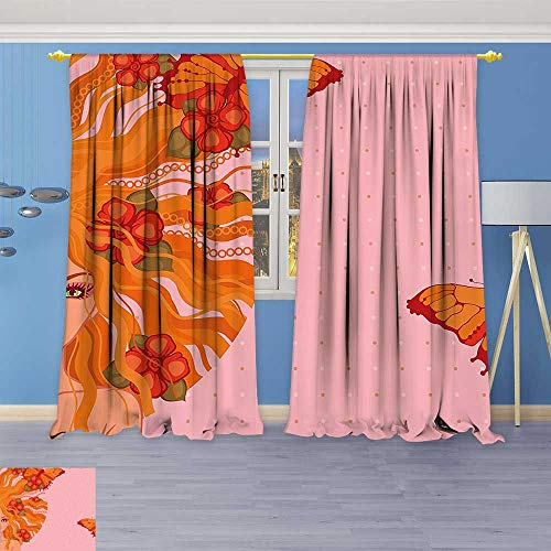 Top Thermal Grommet Weathermate - Philiphome Solid Grommet top Thermal Insulated Window Blackout Curtains Girl with Flowers on Her and Butterflies on Polka Dot Backdrop Beauty Orange for Dining Room