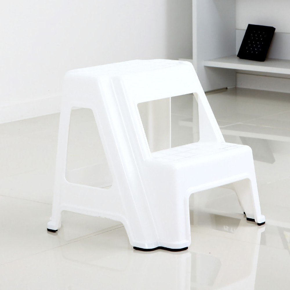 Dual Height Step Stack Stool White - Versatile Two-Step Design for Growing Children or Adult | Non-Slip Feet | 350 Pound Capacity