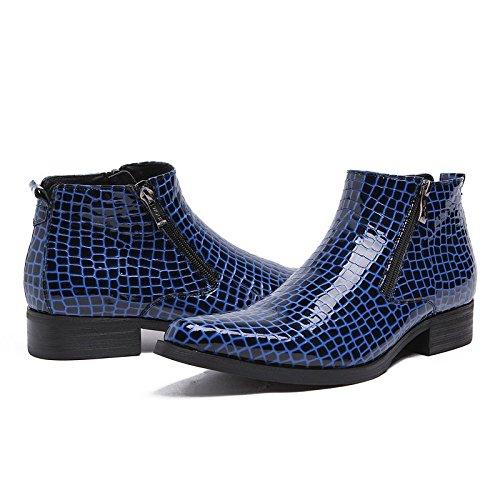 Wuf Herren Stiefel Boots Lederstiefel Schuhe Klassisch Blau
