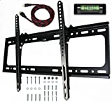 e-onsale Universal Flush Tilt Dual Hook Flat Screen TV Wall Mount Bracket for 32 to 65'' Plasma, LED, LCD, TV with HDMI Cable and Magnetic Bubble Level
